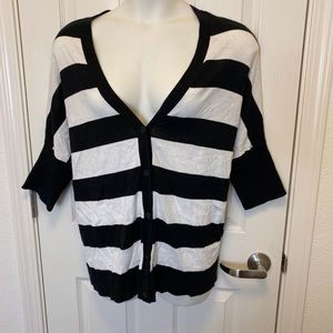 WHITE STRIPED CARDIGAN BY LANE BRYANT * 18/20 *